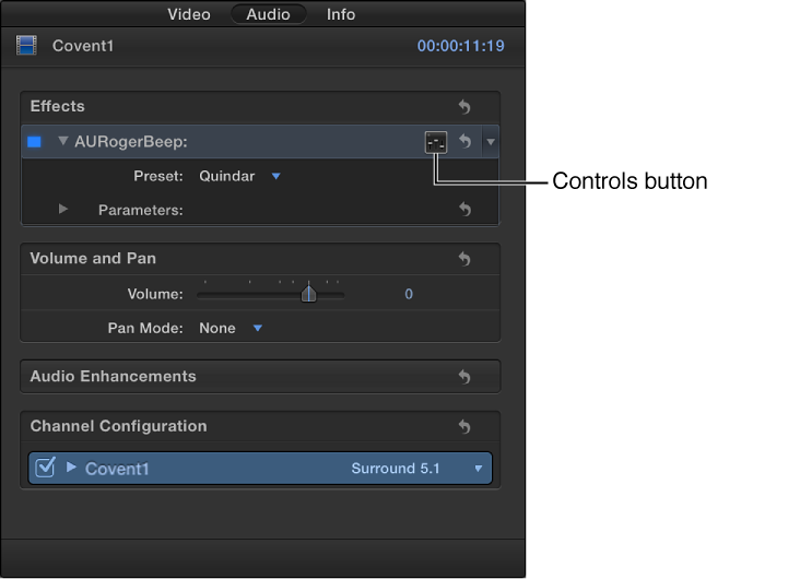 Controls button to right of selected effect in Effects section of Audio inspector