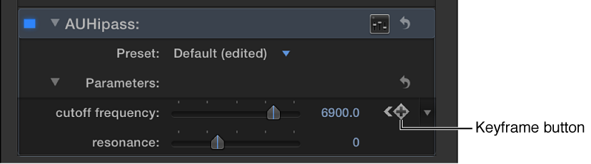 Keyframe button for effect in Audio inspector