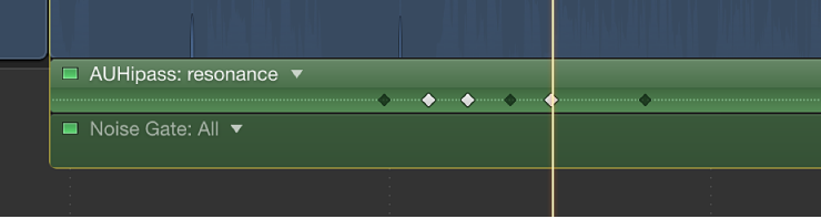 Audio Animation Editor showing active and inactive keyframes