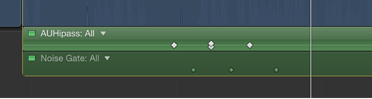 Audio Animation Editor showing keyframes for multiple parameters at same point