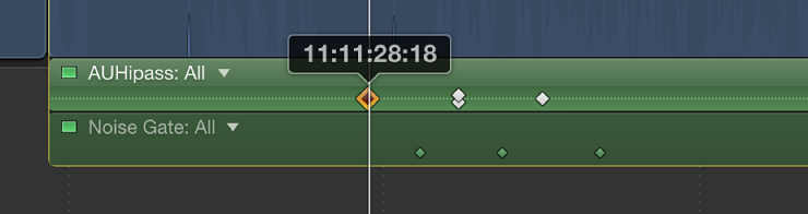 Keyframe being dragged in Audio Animation Editor, with timecode value appearing above keyframe
