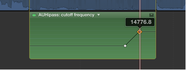 Keyframe being dragged in Audio Animation Editor to change parameter value