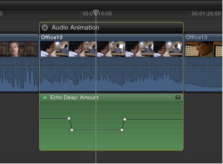 Resulting keyframes shown in Audio Animation Editor