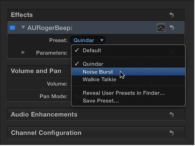 Options in Preset pop-up menu in Effects section of Audio inspector