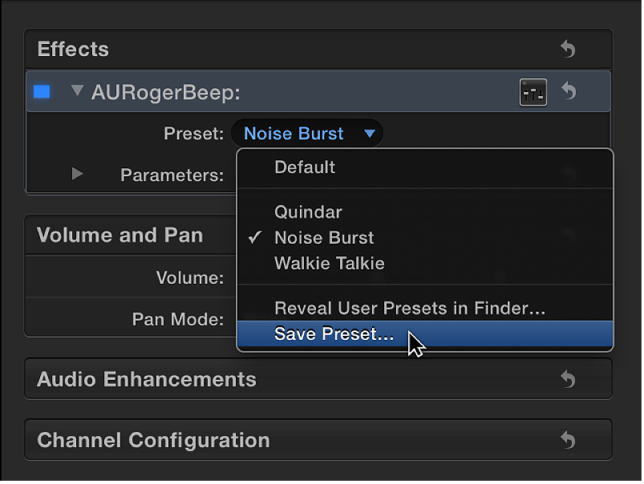 Effects section of Audio inspector showing Save Preset option in Preset pop-up menu