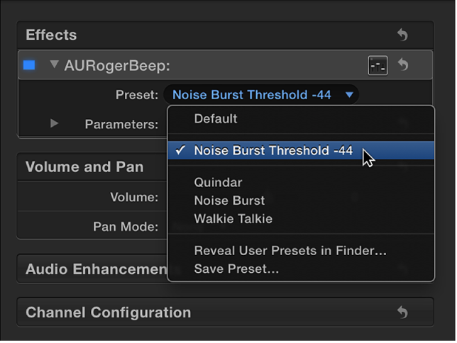 Effects section of Audio inspector showing saved preset in Preset pop-up menu