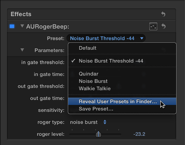 Effects section of Audio inspector showing Reveal User Presets in Finder option in Preset pop-up menu