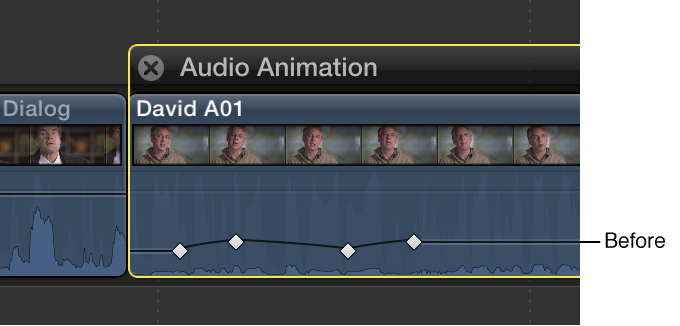 Keyframe curve in Audio Animation Editor before adjustment
