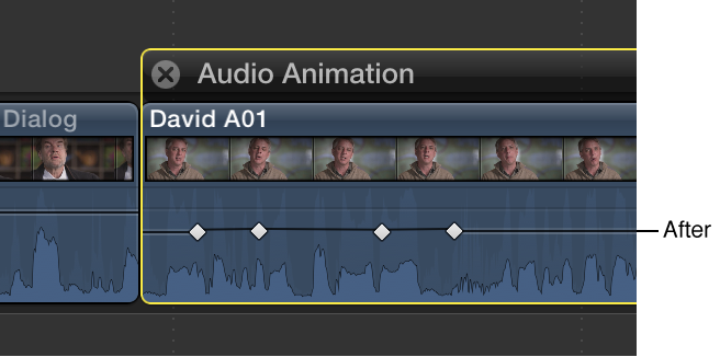 Keyframe curve in Audio Animation Editor shown flattened after adjustment