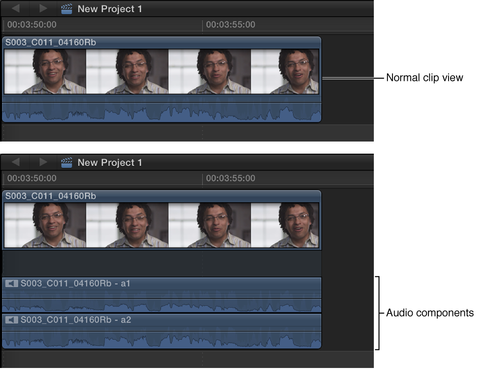 Clip in Timeline shown before and after audio components are expanded
