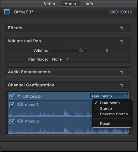 Channel configuration section of Audio inspector showing channels and waveforms in selected clip