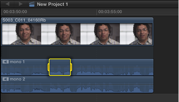 Selected range in audio component in clip in Timeline
