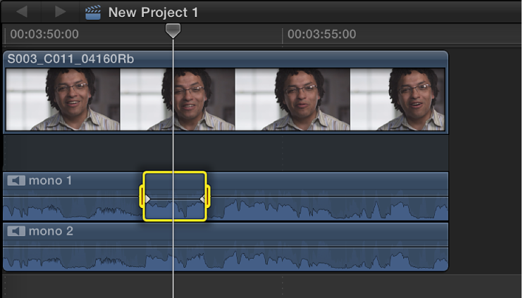 Selected range in audio component in Timeline before volume adjustment