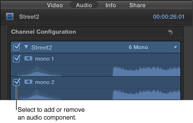 Channel Configuration section of Audio inspector showing checkboxes for adding and removing audio components