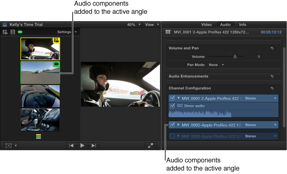 Added audio components shown highlighted in Angle Viewer and Audio inspector