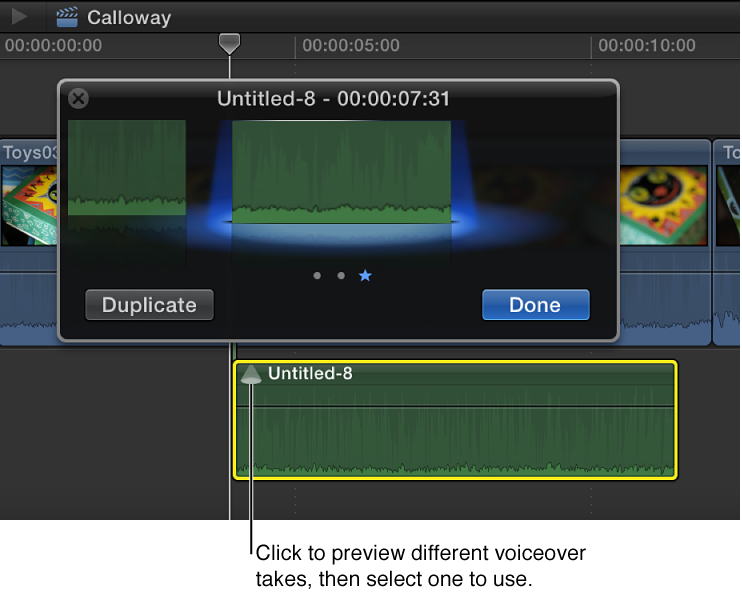 Voiceover clip audition window shown