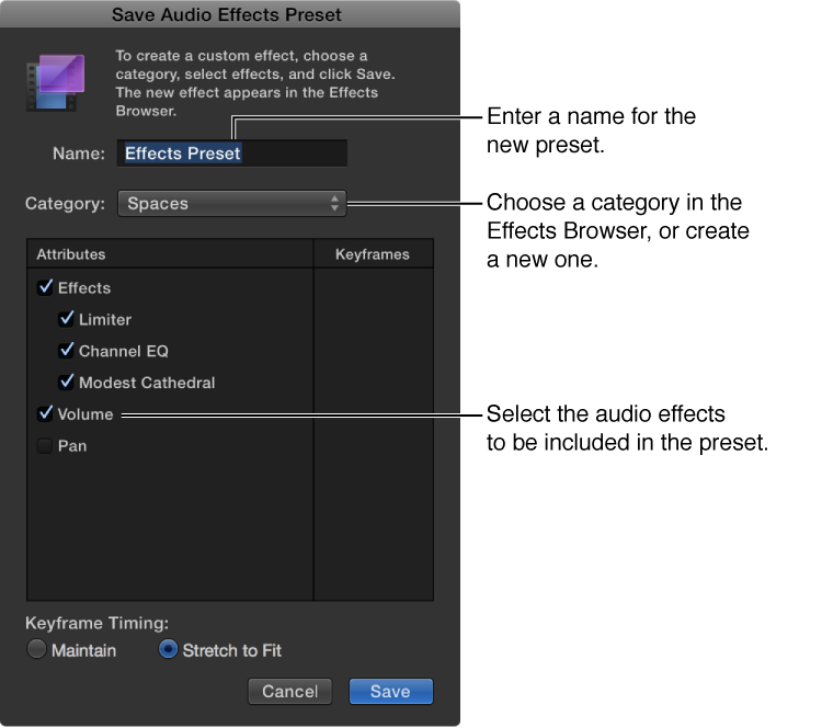 Save Audio Effects Preset window