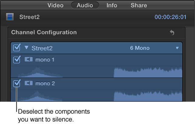 Checkboxes in the Channel Configuration section of the Audio inspector