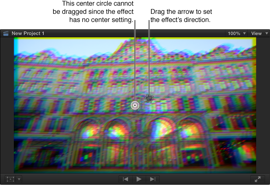Viewer showing Prism effect onscreen controls