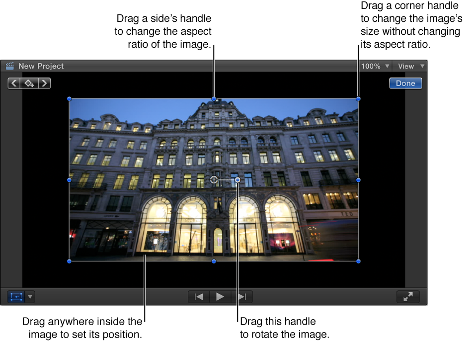 Viewer showing Transform onscreen controls