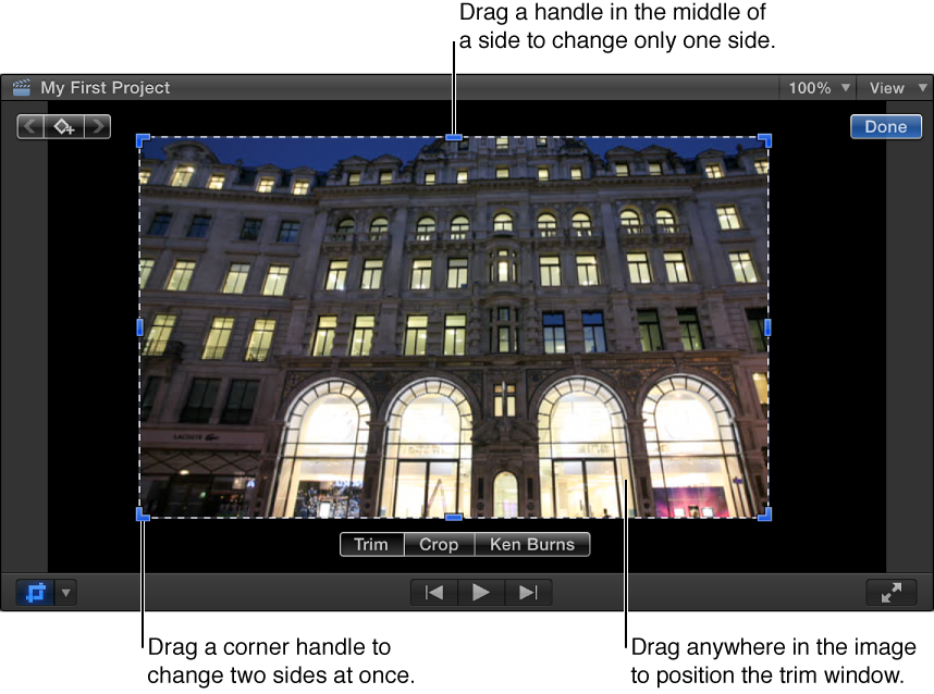 Viewer showing Trim onscreen controls