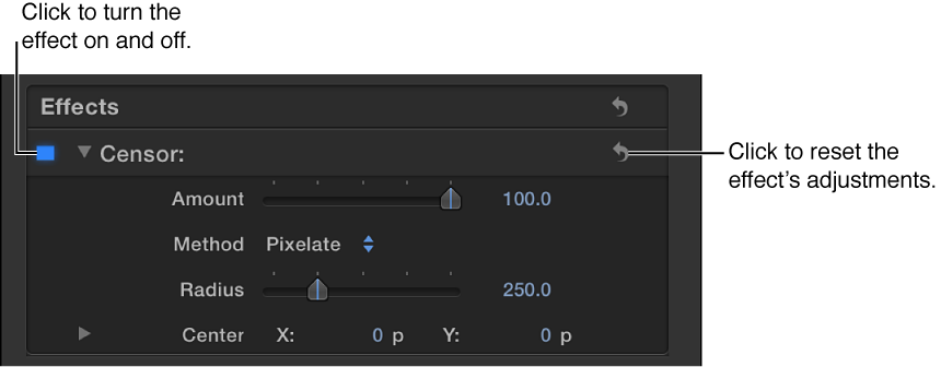 Effects section of Video inspector showing adjustment controls