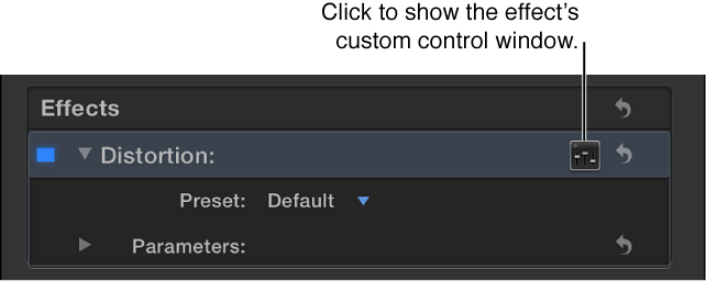 Effects section of Audio inspector showing Controls button for accessing additional controls