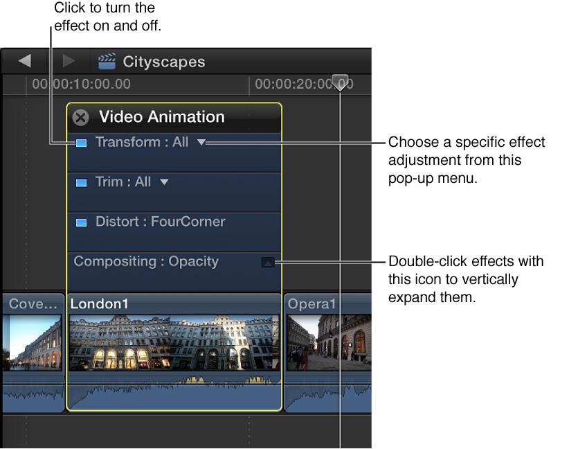 Video Animation Editor controls