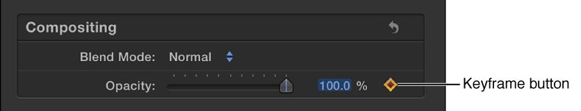 Keyframe button in Video inspector