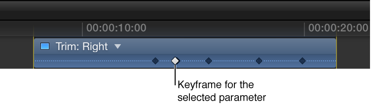 Video Animation Editor showing active and inactive keyframes