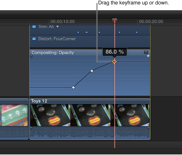 Keyframe being dragged in Video Animation Editor to change parameter value