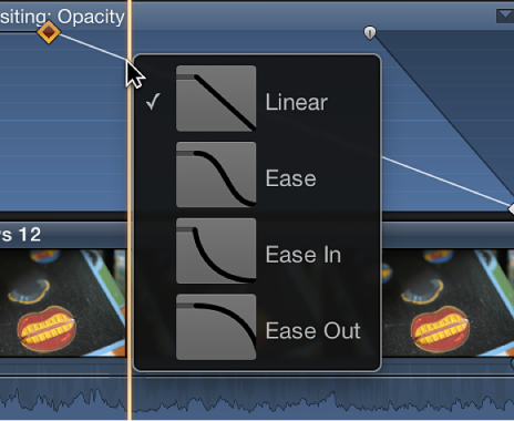 Curve shape options in shortcut menu in Video Animation Editor