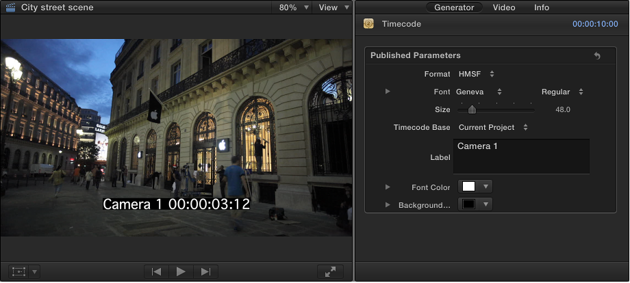 Viewer and Generator inspector showing Timecode generator
