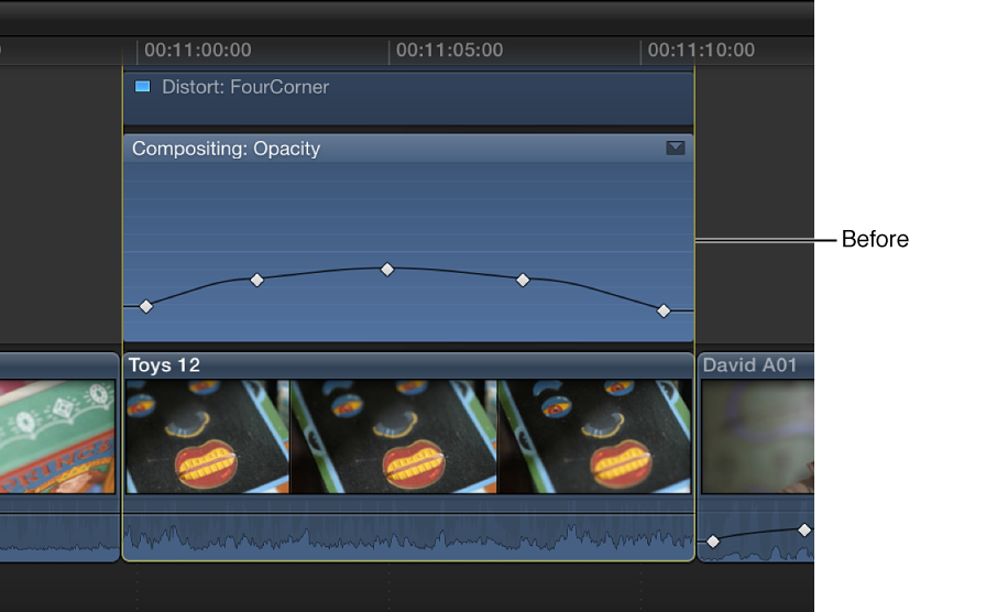 Keyframe curve in Video Animation Editor before adjustment