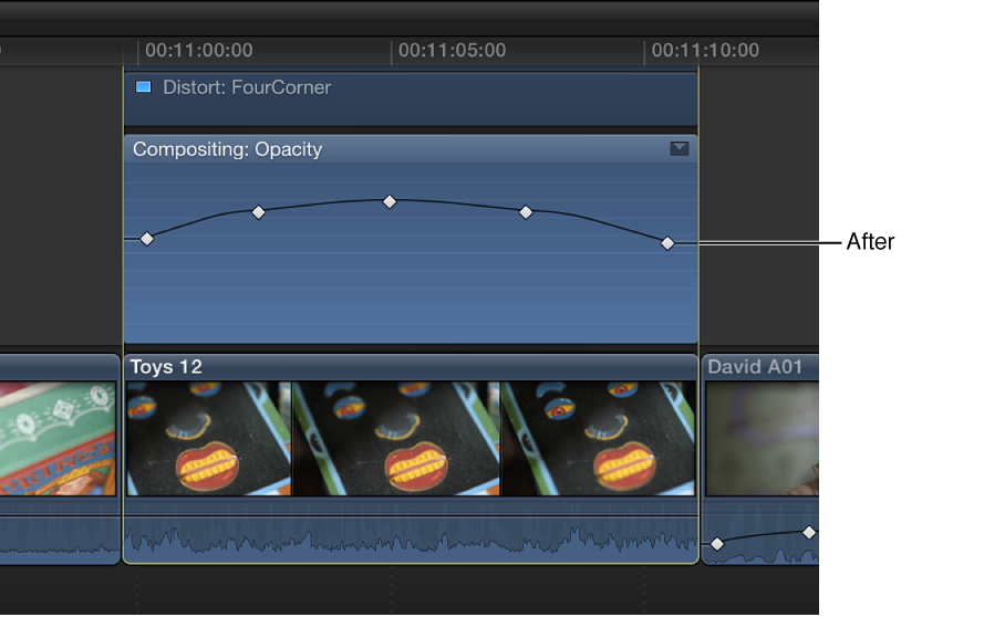 Keyframe curve in Video Animation Editor after adjustment, with all keyframes adjusted by same amount