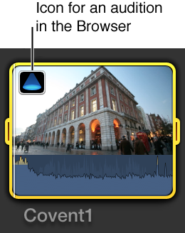 Audition icon on clip in Browser