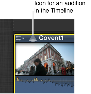 Audition icon on clip in Timeline