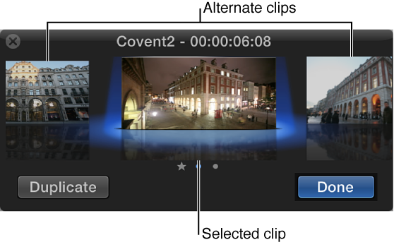 Audition window showing selected clip surrounded by alternates