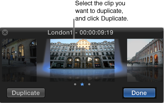 Audition window showing selected clip and Duplicate button