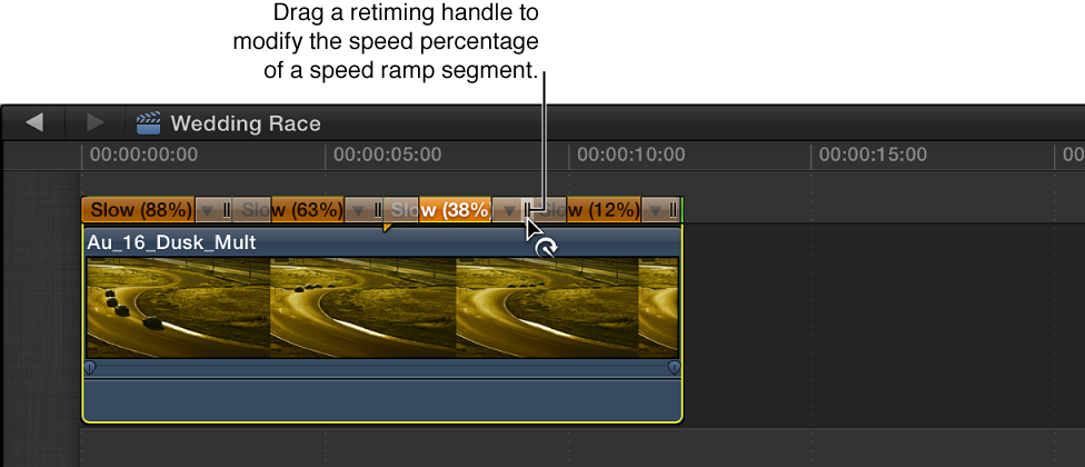 Timeline showing clip with variable speed change applied