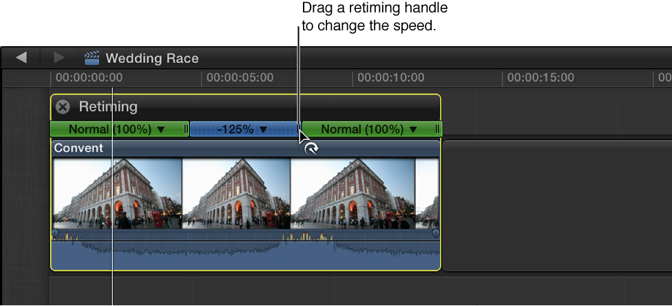 Timeline showing retiming handle of rewound section of clip being dragged to adjust speed