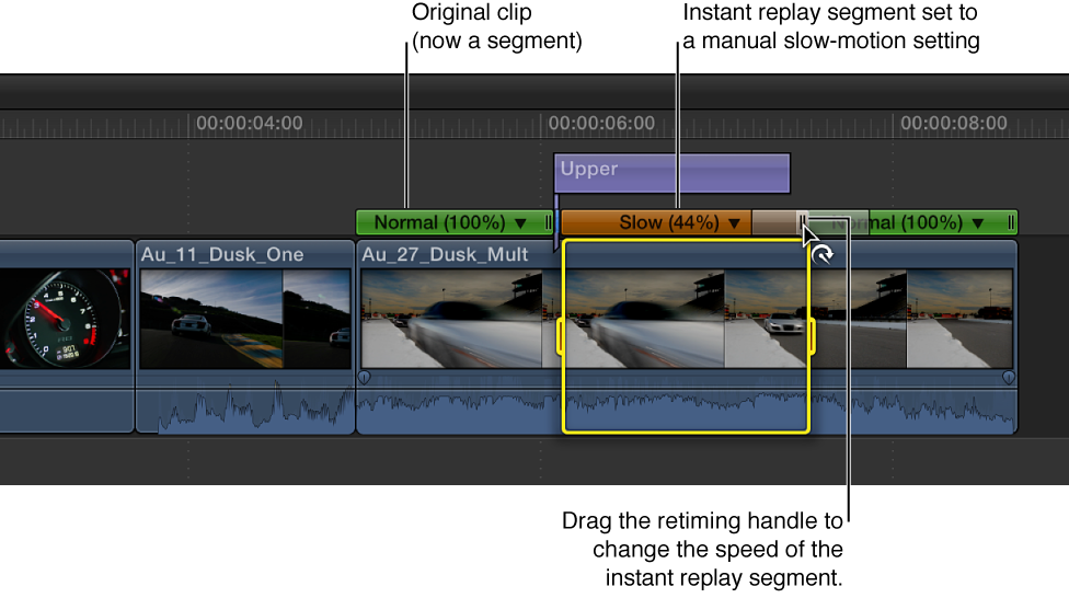 Timeline showing retiming handle of instant replay section of clip being dragged to adjust speed