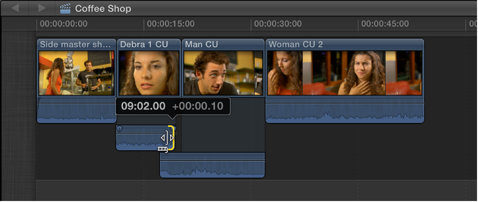 Preceding clip's audio end point being dragged back so that audio no longer overlaps in Timeline