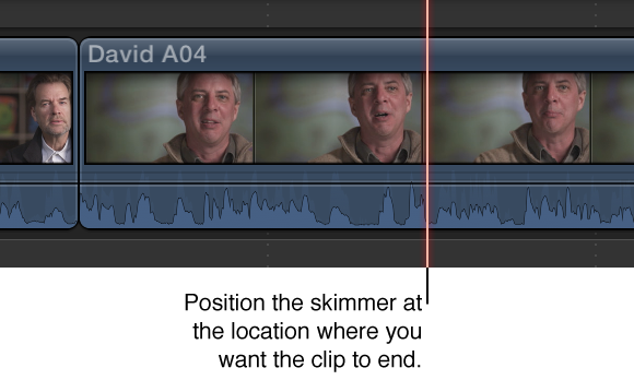 Skimmer positioned on clip in Timeline
