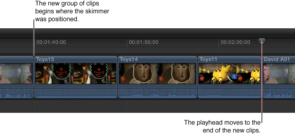 Three clips from Browser shown added to Timeline starting at skimmer position