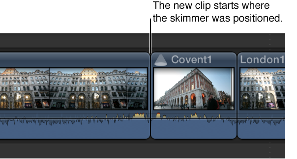 Browser clip shown added to Timeline starting at skimmer position