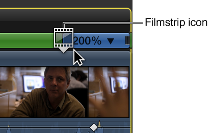 Retime Editor showing filmstrip icon