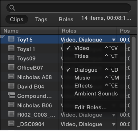 Roles column in Clips pane of Timeline Index showing available roles in shortcut menu