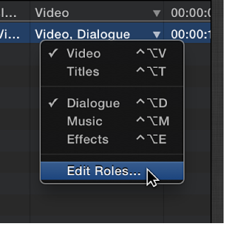 Edit Roles option being chosen from Roles pop-up menu