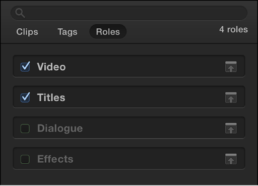 Roles button at top of Timeline Index, with Roles pane shown and checkboxes for Video and Titles roles selected